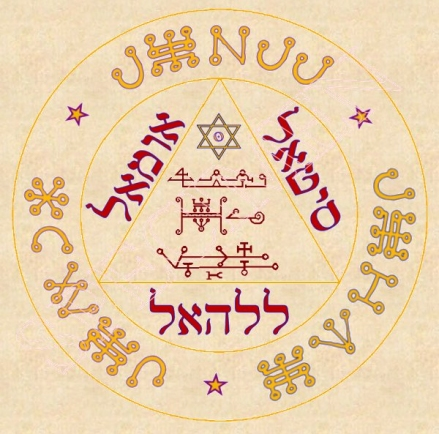 Pentacles des trois anges sur parchemin